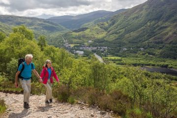 Vandrere på vej ad sti med udsigt over grøn dal i Kinlochleven
