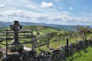 Bakket og grønt landskab og stenmure der adskiller markerne