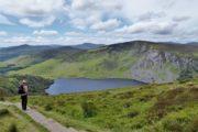 Hede og søer i det grønne irske landskab