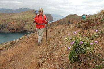 Vandring ad små stier gennem vulkansk landskab på østspidsen Ponta Sao Lourenzo